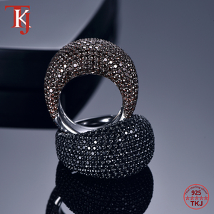 Image 3 - TKJ Anillo de espinela negra para mujer, joyas de piedras preciosas de Plata de Ley 925 auténtica para mujer, piedras redondas, regalo de joyería de compromiso de boda