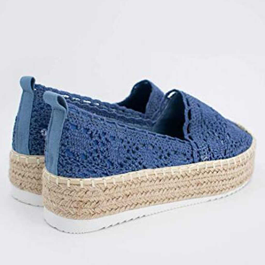Adisputent ayakkabı kadın dantel Hollow platformu Flats rahat düz ayakkabı bayan nefes kalın dipli Espadrilles zapatos Dropship