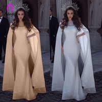 Robe de soirée arabe sirène paillettes scintillantes avec longue Cape de Train dentelle Appliques perlées pure luxe blanc robes de Banquet