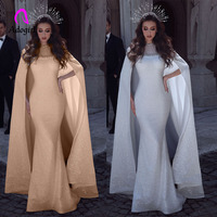 Sparkly Sequin Mermaid Arabic Evening Party Dress with Long Train Cape Lace Appliques Beaded Sheer Luxury White Banquet Gowns