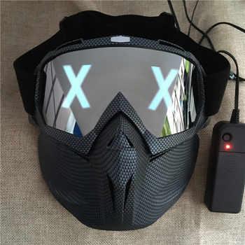 LED Lights Mask Luminous Half Face X Glowing Eyes DIY Eyewear Mask Removable masks DJ Party Halloween Cosplay Prop Gift