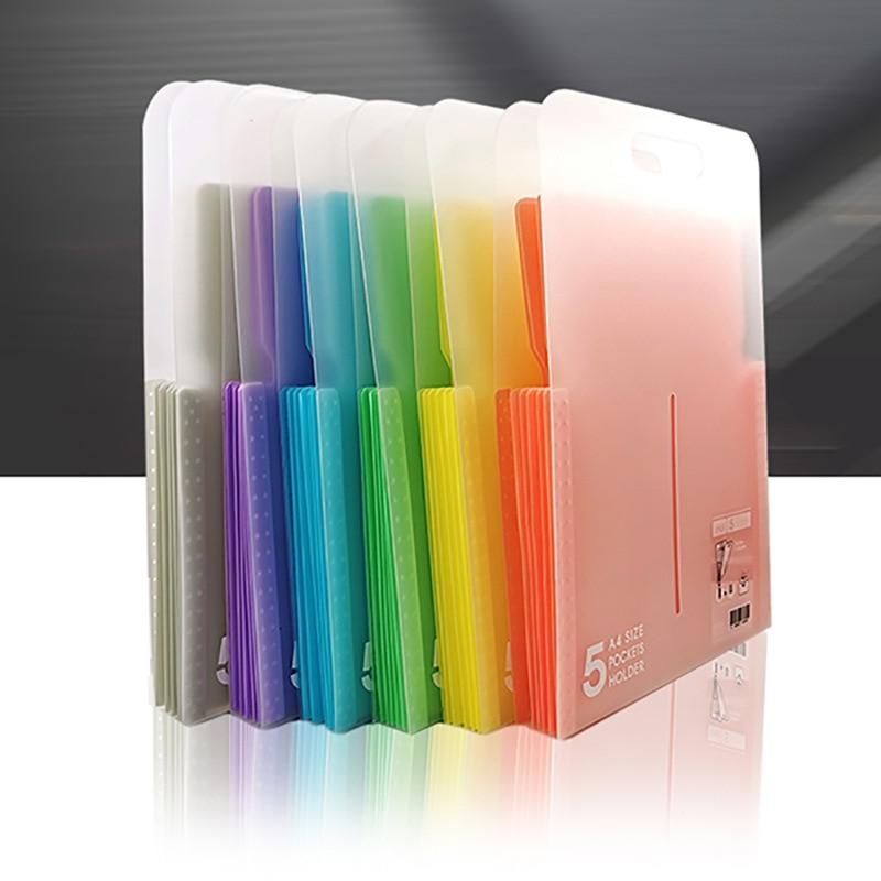 Vertical Portable Document Bag Organ File Folder Expanding Wallet 5 Grid Office School Supplies