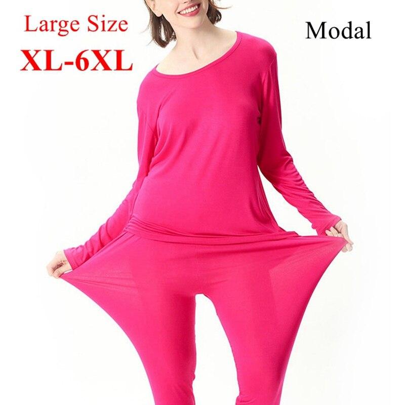 Mferlier Women Thin Modal Underwear Sets Large Size 4XL 5XL 6XL Elastic Solid Rose Red Black Light Gray Purple Female Long Johns