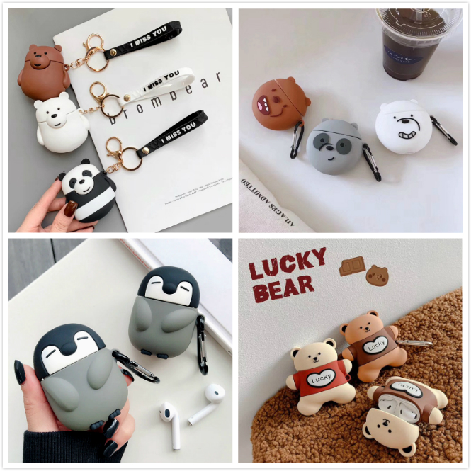 Earphone <font><b>Case</b></font> For <font><b>AirPods</b></font> <font><b>Case</b></font> Cartoon Bear <font><b>Silicone</b></font> Cover for <font><b>Apple</b></font> Air pods 2 Cute Earbuds Bag for Earpods <font><b>Cases</b></font> Accessoires image
