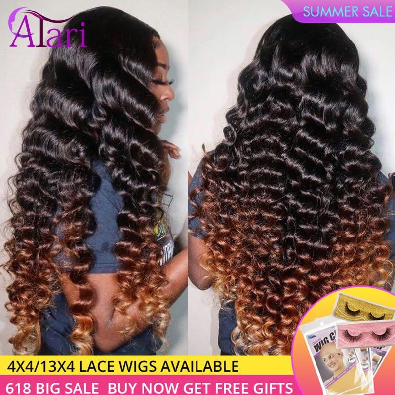 Парик Atari Ombre 4 30 дюймов, свободные натуральные волосы с глубокой волной, бразильские кудрявые фронтальные волосы, 30 дюймов, предварительно в...