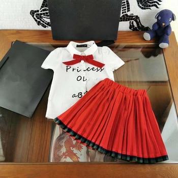 High-end children's clothing suit skirt, girl cute fashion shirt skirt, children's beautiful bow shirt pleated skirt