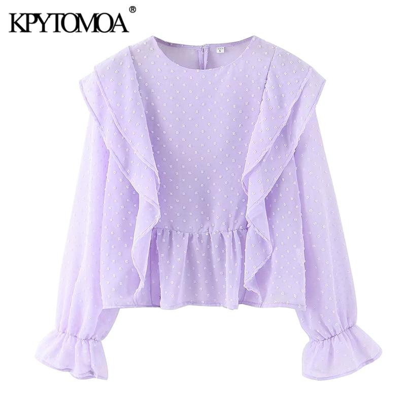 KPYTOMOA Women 2020 Fashion Ruffled Dot Chiffon Blouses Vintage O Neck Long Sleeve Female Shirts Blusas Chic Tops