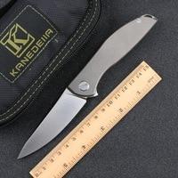 Kanedeiia custom neon zero flipper folding knife titanium alloy handle D2 blade trekking camping hunting fruit knives EDC tools