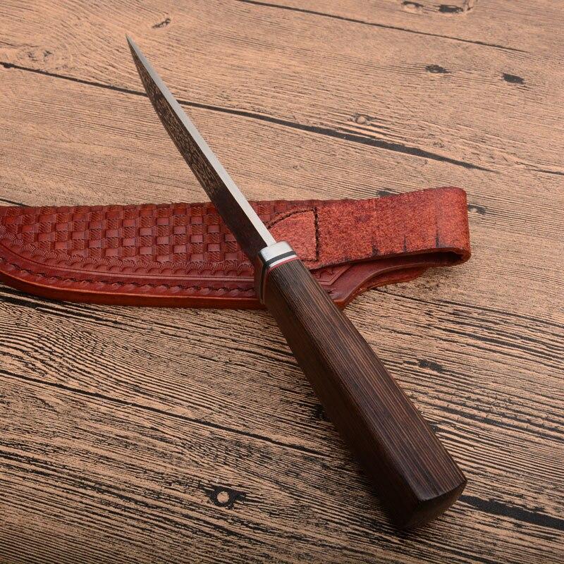 Chaude XL28 G10 + damas acier rond manche en bois couteau de chasse en plein air haute dureté CNC lame droite li cadeaux couteaux en gros - 4