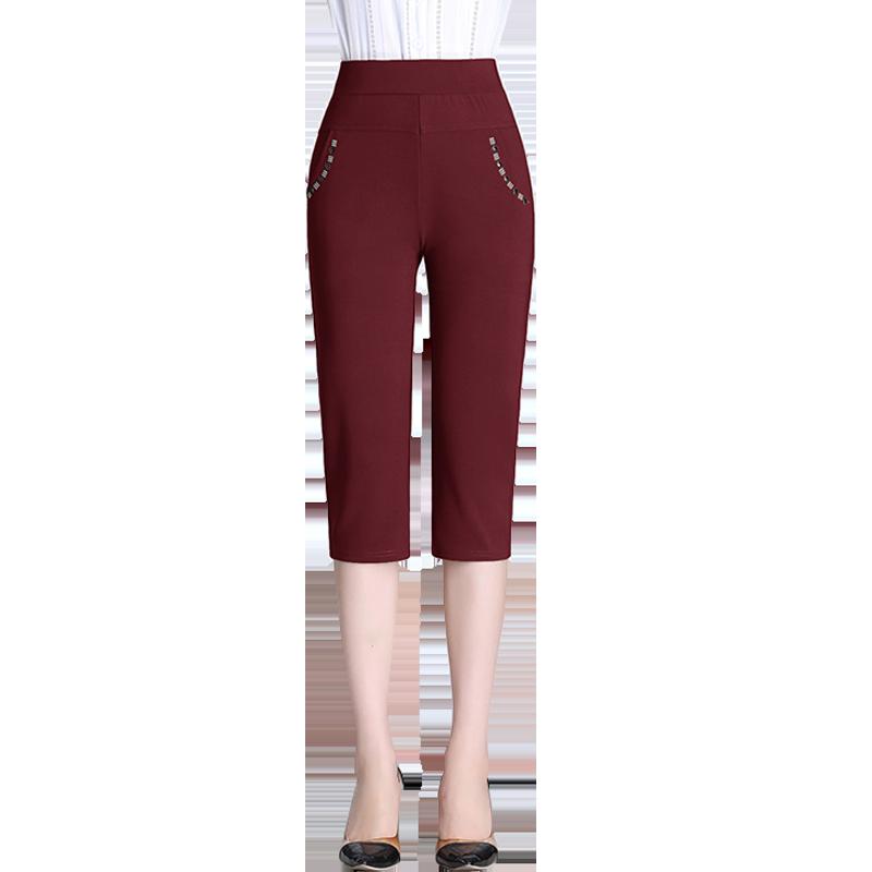 Summer Capris Pants For Women Casual Solid Pantalon Femme High Waist Pencil Pants Skinny Stretch Short Trousers Plus Size 5XL