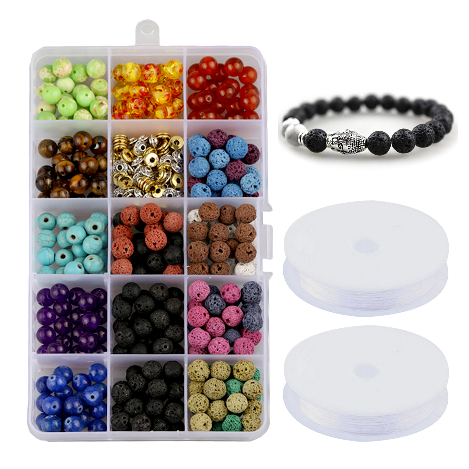 388Pcs Chakra Beads Lava Rock Stone Volcanic Loose Beads Set With 2 Roll Crystal String Toys Gifts DIY Manual Bracelet Necklace
