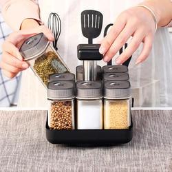 Frascos de cozinha para especiarias de vidro de gerencio cruet tempero conjunto jar churrasco pimenta saleiros paprika garrafa de armazenamento da cozinha rack jar