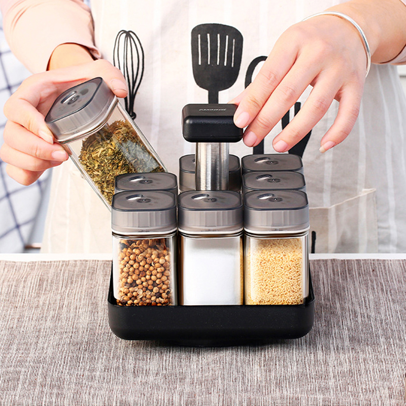 Kitchen Jars For Spices Rotating Glass Cruet Seasoning Jar Set BBQ Pepper Salt Shakers Paprika Bottle Kitchen Storage Rack Jar