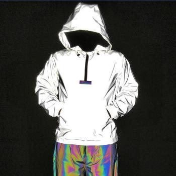 New Men Semi-Zip Fully Reflective Jacket Pullover Fashion Large Size Coat Novel High-tech Fabric Lightening Jacket