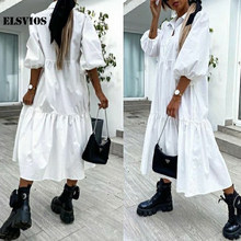 Casual Loose Lapel Solid Color 2021 Spring Summer New Women Dresses Fashion Mid Sleeves Streetwear Elegant Office Lady Vestidos