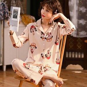 Image 4 - Sonbahar kış yeni ev giyim uzun kollu pamuklu pijama rahat uyku seti 2 adet gecelik pijama pijama takım elbise sevimli ev tekstili