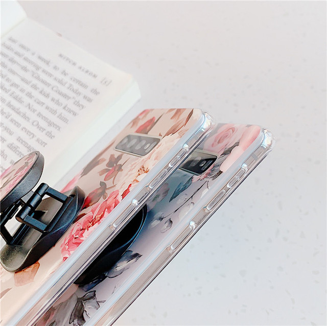 Coque de fleur Rose pour Samsung Galaxy S10 S10e S9 S8 Plus Coque arrière sur A40 A50 A70 Coque de téléphone en silicone avec support
