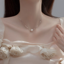 S925 prata pura única pequena pérola pingente colar de pérola feminina grau simples clavícula corrente jóias
