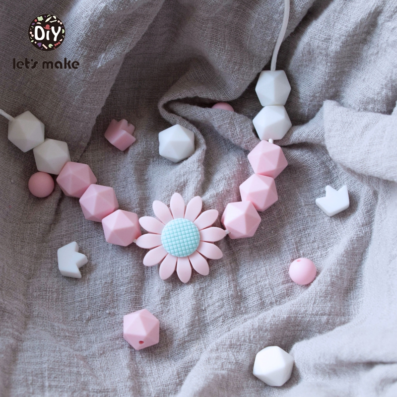 Купить с кэшбэком Silicone Beads Hexagon Beads 14mm 10pc Food Grade Silicone Teether DIY Pacifier Clips Beads Necklace Baby Teether Let's Make