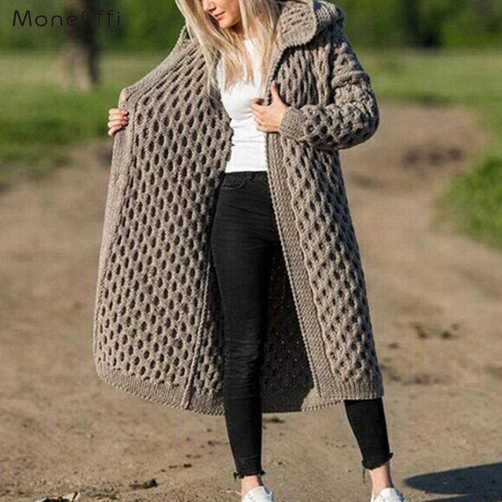 MoneRiff New Arrival Fashion Women's Hooded Thick Knitted Sweater Cardigan Coat Long Sleeve Winter Warm Hooded Cloak