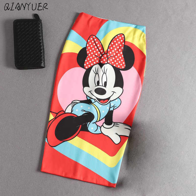 Mickey femmes taille haute mince hanches jupe dessin animé lettre imprimer crayon jupes femmes Sexy Mickey jupe
