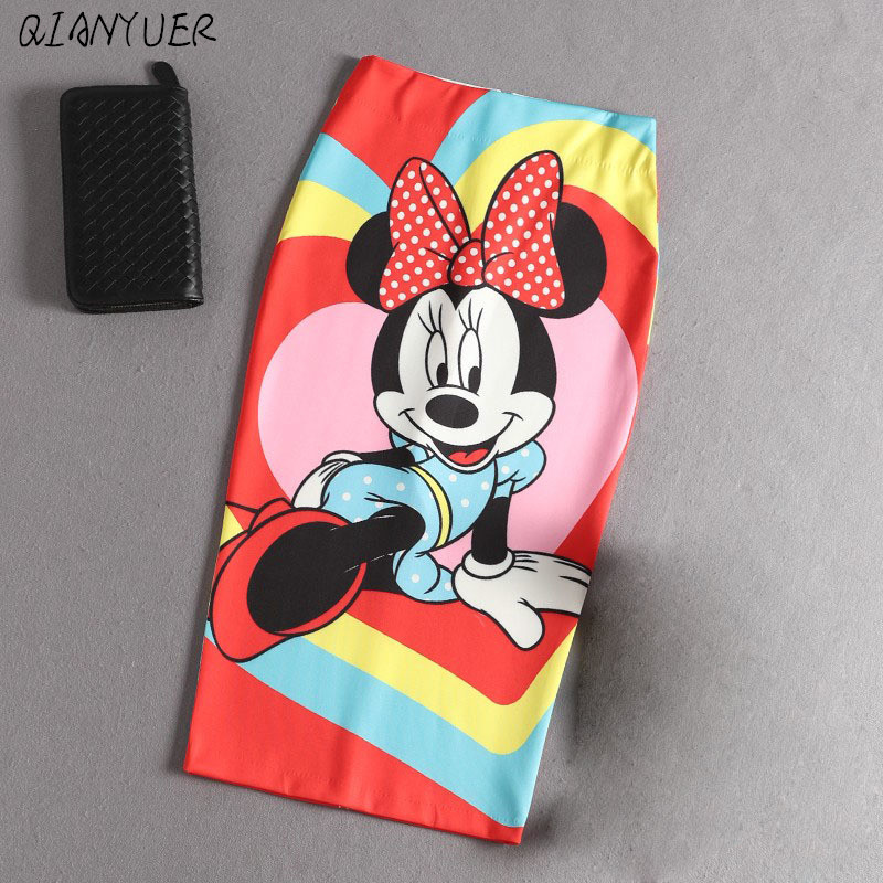 Mickey Women High Waist Slim Hips Skirt Cartoon Letter Print Pencil Skirts Sexy