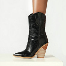 Botas de tacón alto para mujer, botines de piel sintética con cuña, puntiagudas, de vaquero, a la moda, color blanco y negro, 2019