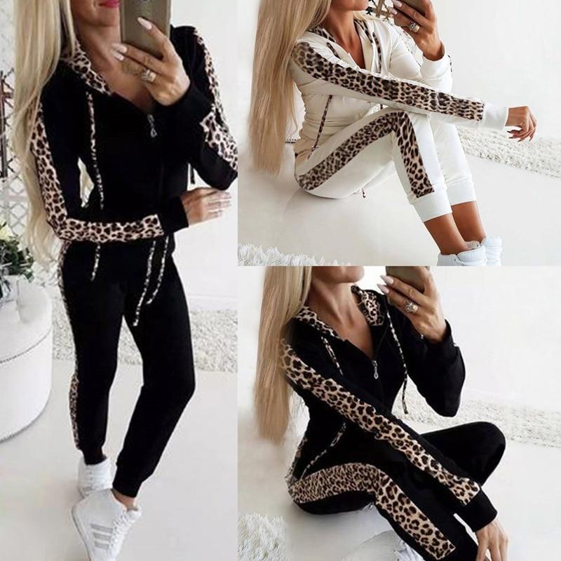 Fashion Casual 2Pcs Women Leopard Long Seleeve Hoodies Sports Tops Pants Tracksuit Sweatshirt Sweat Suit Jogging