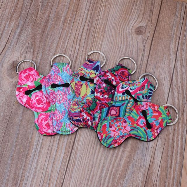6Pcs Neoprene Floral Waterproof Lipstick Chapstick Holder Bag purse back-pack Key Chain Jewelry keychain Gifts Accessories 2
