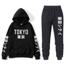 Японский новый черный и белый бренд Токио принт капюшон толстовка Наруто глаз толстовка мужская% 27 пуловер +% 2B брюки толстовка