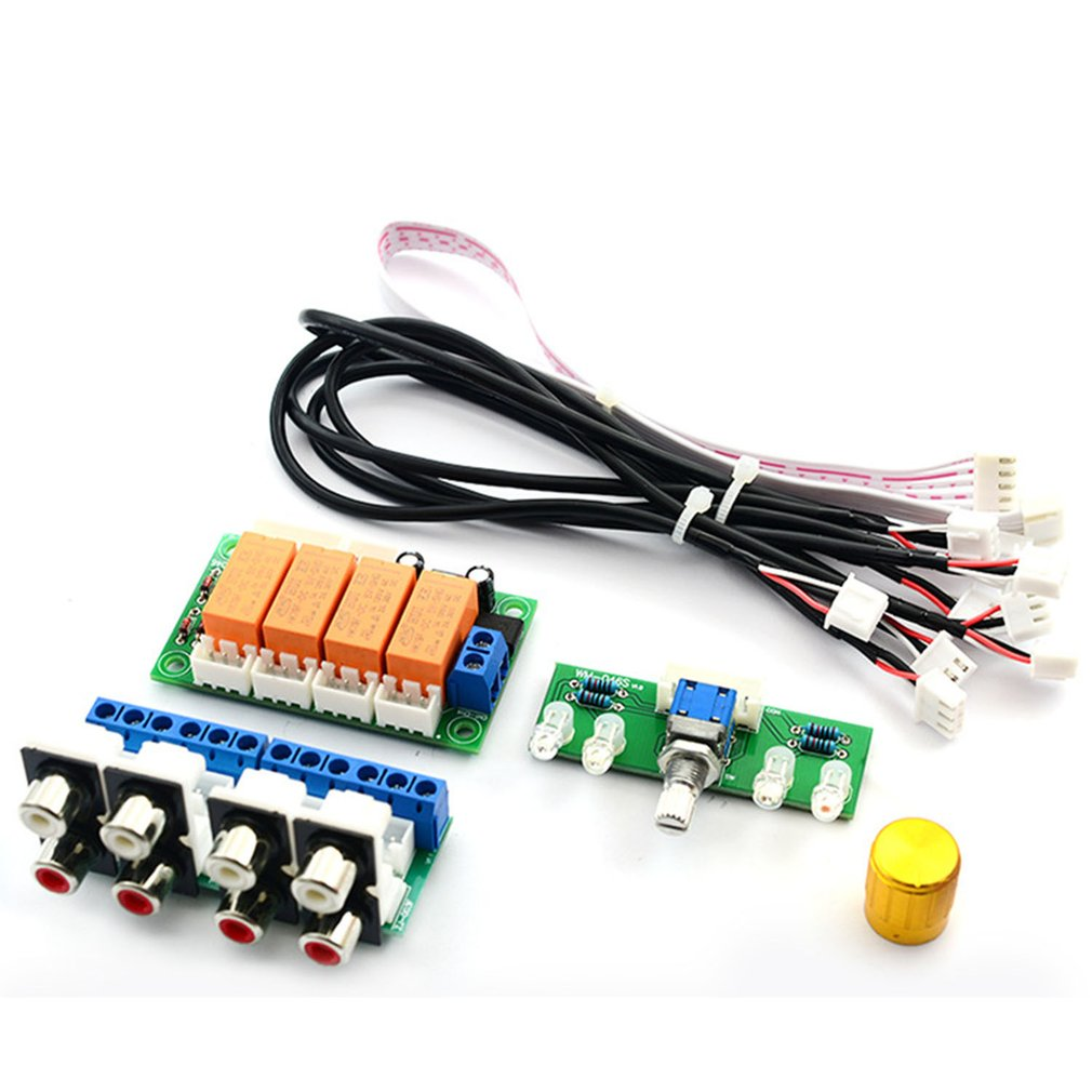 4-Way Relay Audio Input Signal Selector Switching RCA Audio Input Selection Board Of Button Switch For Amplifiers Not Assembled