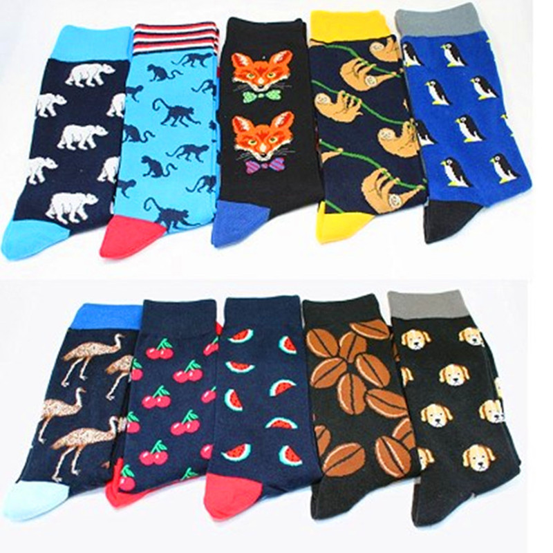 Cartoon Anime Crawling Worm Cactus Tree Penguin Crew Cotton Autumn Winter Warm Mens Breathable Socks Calcetines Divertidos