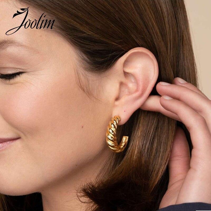 Серьги-кольца Joolim из нержавеющей стали для женщин, ювелирные изделия из нержавеющей стали, Прямая поставка от поставщика