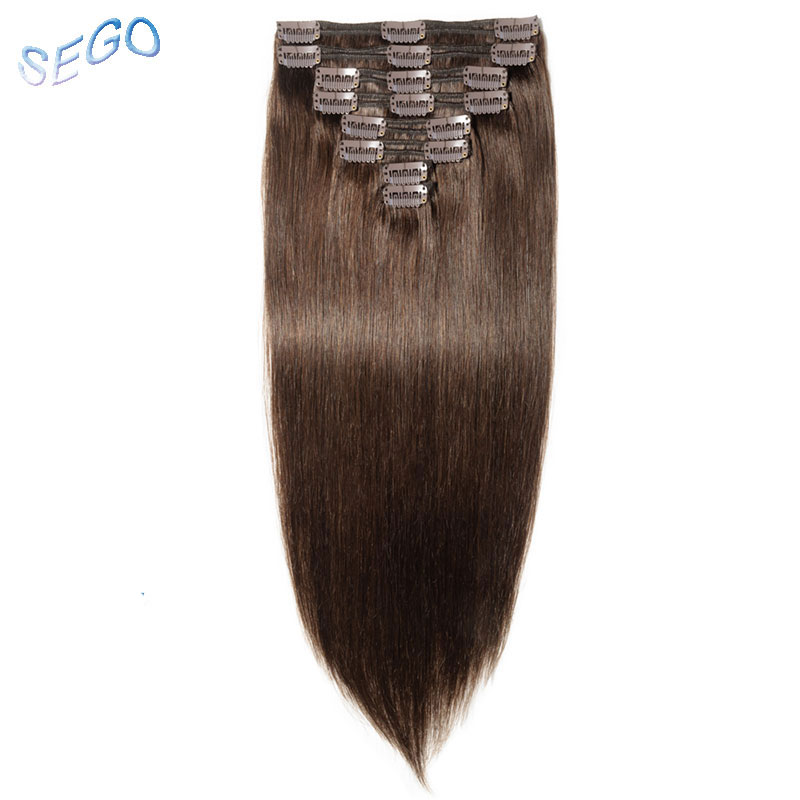 SEGO 110g-170g Non-Remy Clip In Human Hair Extensions Double Drawn 100% Human Hair Straight Brazilian Hair 8pcs/set 10