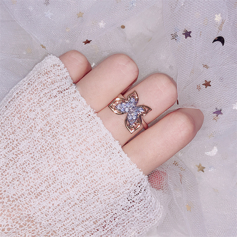 14k Gold Butterfly Diamond Ring Lady Hawthorne Jewelry Anillos Peridot Bizuteria Fashion Gemstone Women 14 K Gold Diamond Rings