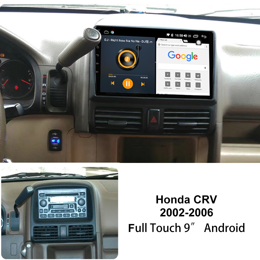 For Honda CRV 2006 2005 2004 Car Android 10.0 Gps Multimedia Player Bluetooth Navigation Stereo Tape Recorder Radio Head Unit