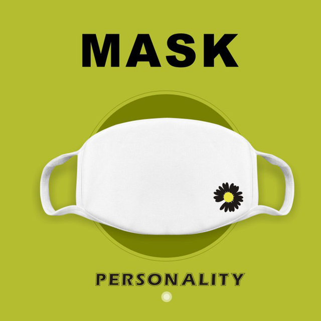 Cute Korean Pop Mouth Mask Daisy Printed Soft Cotton Fabric Mask Dustproof Face Mask Mouth-Muffle Reusable Washable Black White
