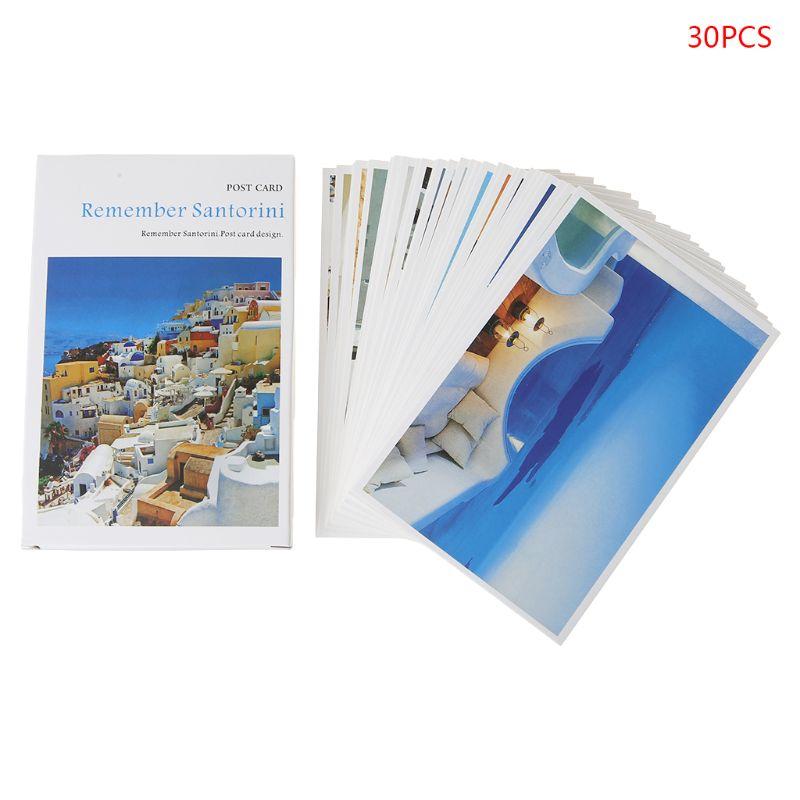 30 Sheets Santorini Paintings Retro Vintage Postcard Christmas Gift Card Wish Poster Cards