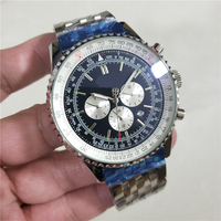 High end men's luxury watch automatic movement mechanical black and blue 47 mm stainless steel sports watch