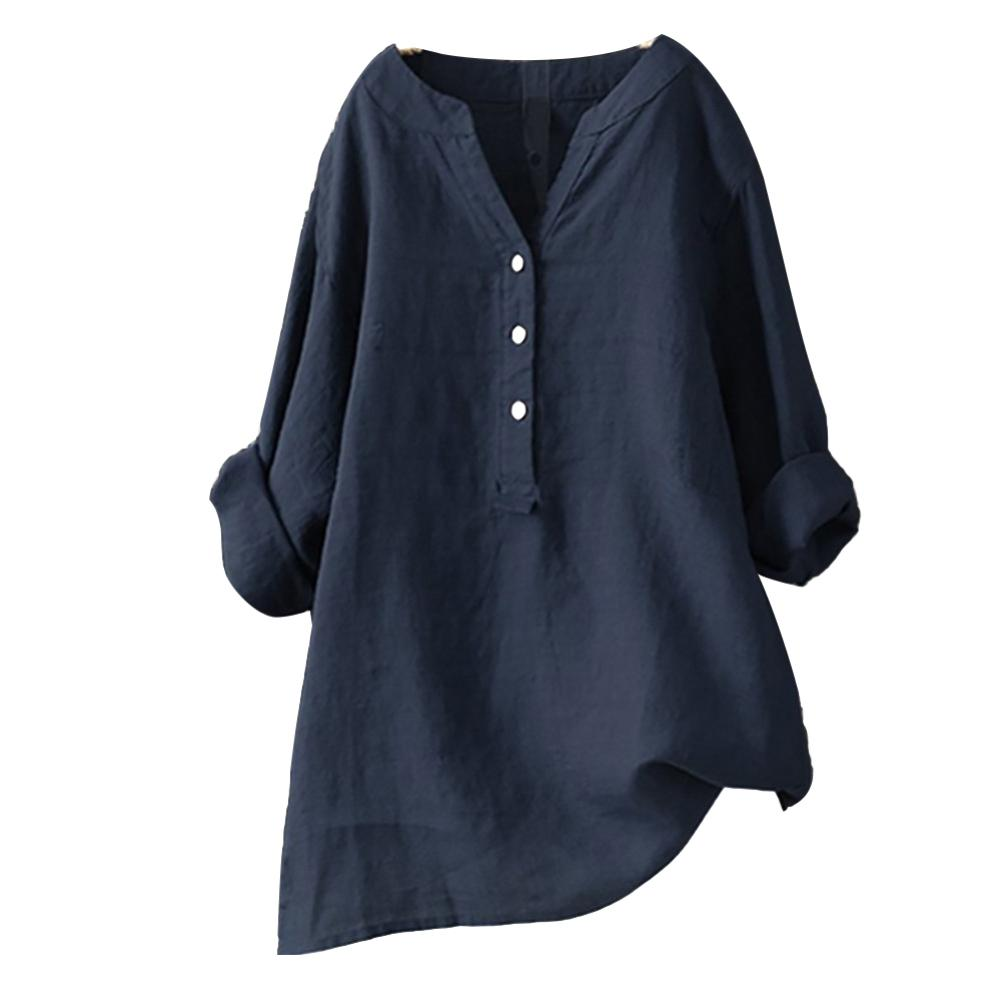 Plus Size Women Solid Color V Neck Long Sleeve Shirt Loose Linen Blouse Top 2020 Casual Shirt Office Clothing Female Blouse|Blouses & Shirts| - AliExpress