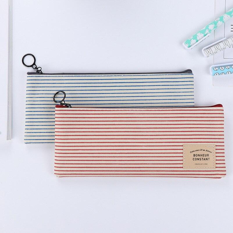 Canvas Pencil Case Bag School Stationery 4 Styles Simple Retro Pencil Case Students Pencil Box