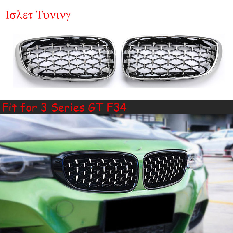 1pair Diamond F34 Grille for BMW 3 Series GT F34 Gran Turismo Front Bumper Kidney Grilles 320i 328i 330i 335i 340i 325d 2014+