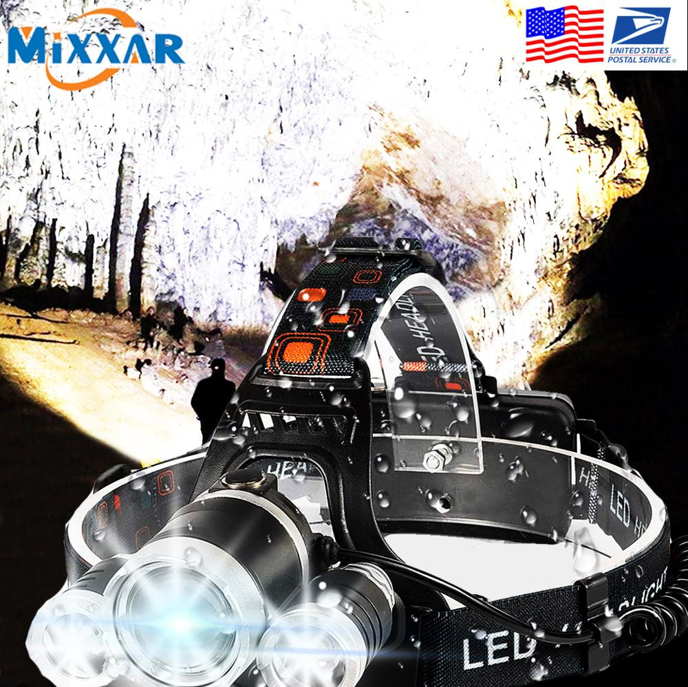 Torch-Flashlight Led-Headlamp Hunting Waterproof Camping Biking EZK20 T6 for 4-Mode R5