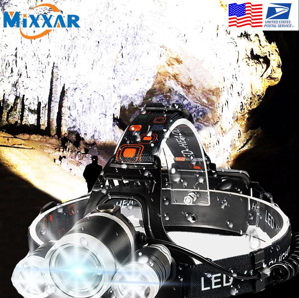 EZK20 Dropshipping T6 R5 LED Scheinwerfer 4 Modus Wasserdichte Hände-freies Scheinwerfer Taschenlampe Taschenlampe für Radfahren Camping Jagd