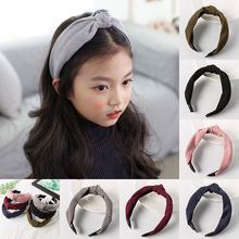Knot Cross Tie Solid 1 PC Fashion Hair Band Hairband Knitted Corduroy Girls Bow Hoop Hair Accessories Headband(China)