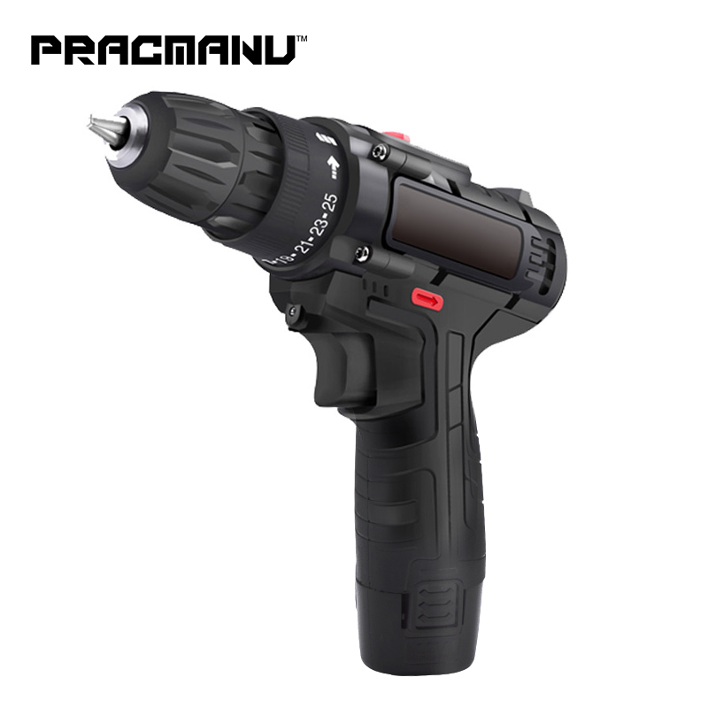PRACMANU 12V Impact Drill Electric Hand Drill Battery Cordless Hammer Drill Electric Screwdriver Home Diy Power Tools