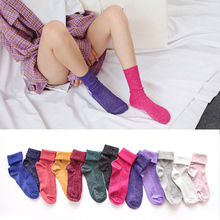 Winter Cotton Solid Shiny Woman Simple Socks Fashion Art Fold Female Student Thick Warm Socks Shiny Metallic Line Sock