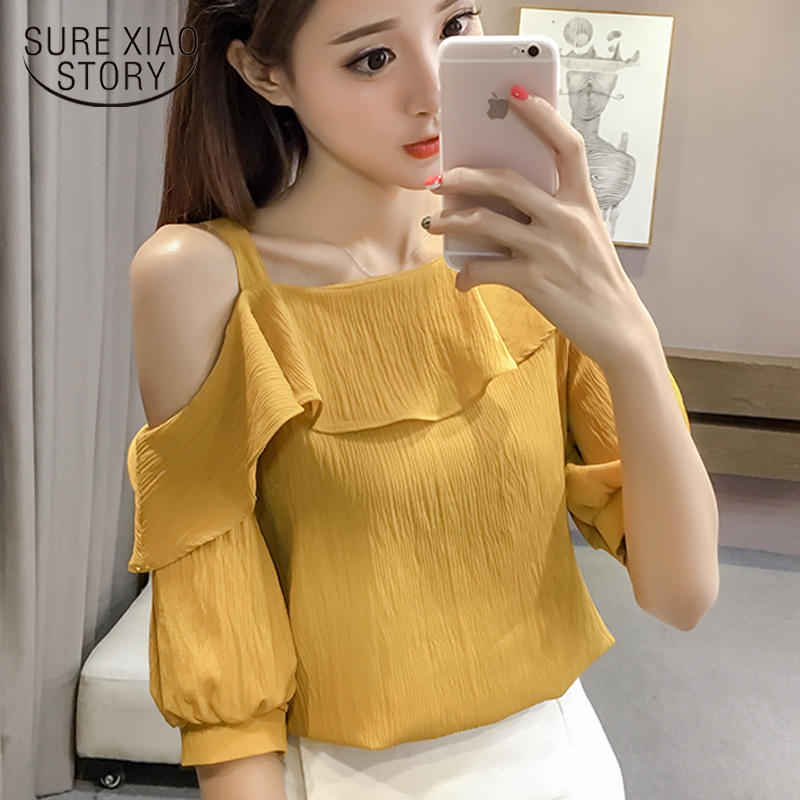 New Spring Fashion Sexy Style Solid Women Shirts Women Tops Short Sleeved Blouses Ruffles Casual Women Clothing D546 30 1