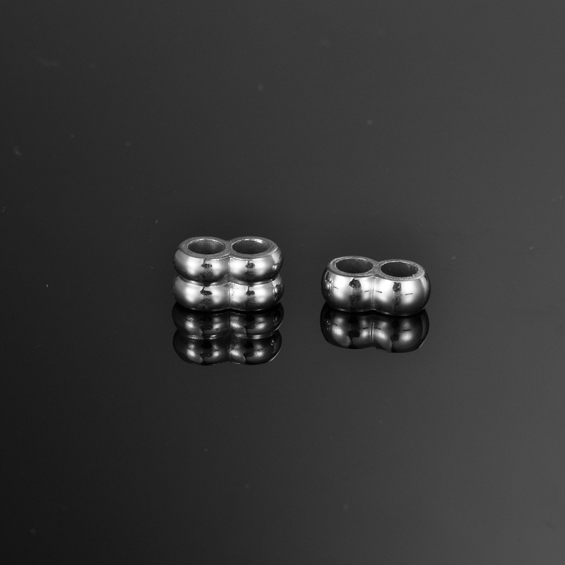FUNIQUE 5/10PCs Shiny Stainless Steel Beads Double Hole Silver Color Beads Big Hole Gold Color Beads Findings For Jewelry Making