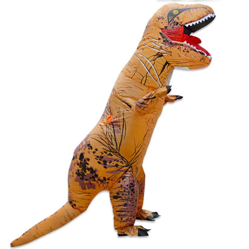 OOTDTY Inflatable Dinosaur Costume Mascot Child Adults Halloween Blowup Outfit Cosplay Christmas Inflatable Games Air Track Toy